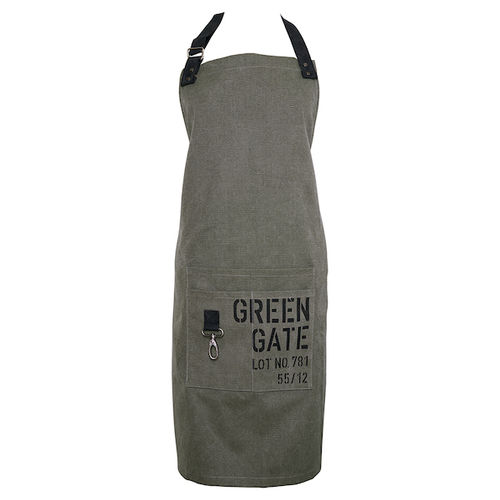 Greengate Apron Khaki with Metal Trim