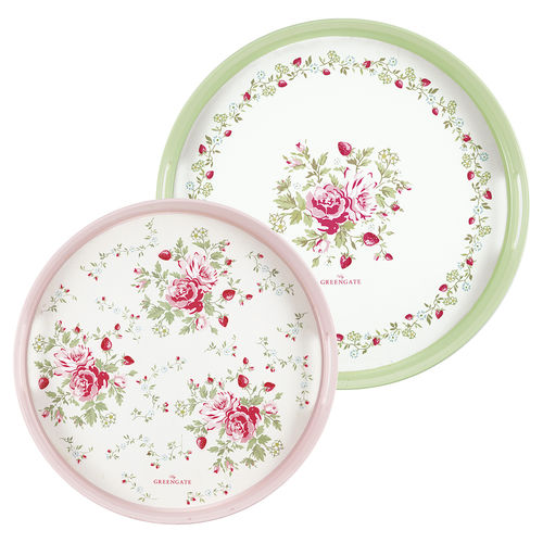 Rundes Tablett Mary white 2er-Set von Greengate